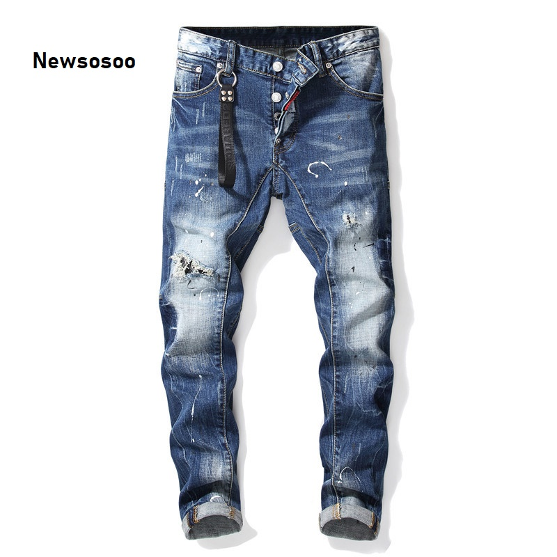 European American Style Luxury Quality Men's Slim Jeans Pants Famous Brand Mens Pencil Pants Straight Blue Hole Jeans For Men