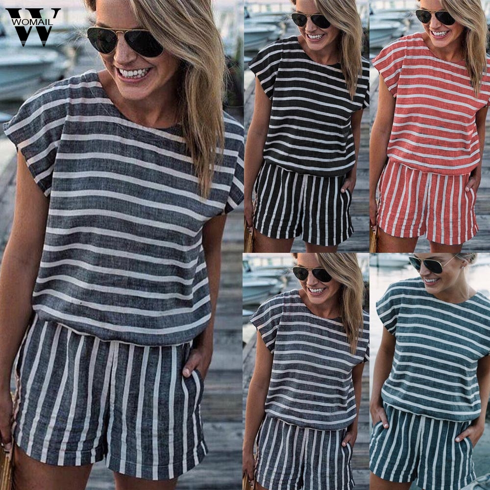 Womail bodysuit Women Summer Fashion Short Sleeve Backless Playsuit Ladies Beach Shorts   Jumpsuit   Playsuit 2019 dropship M5