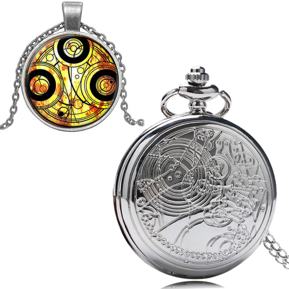 Doctor Who Theme Antique Quartz Pocket Watch Set With Dr Who