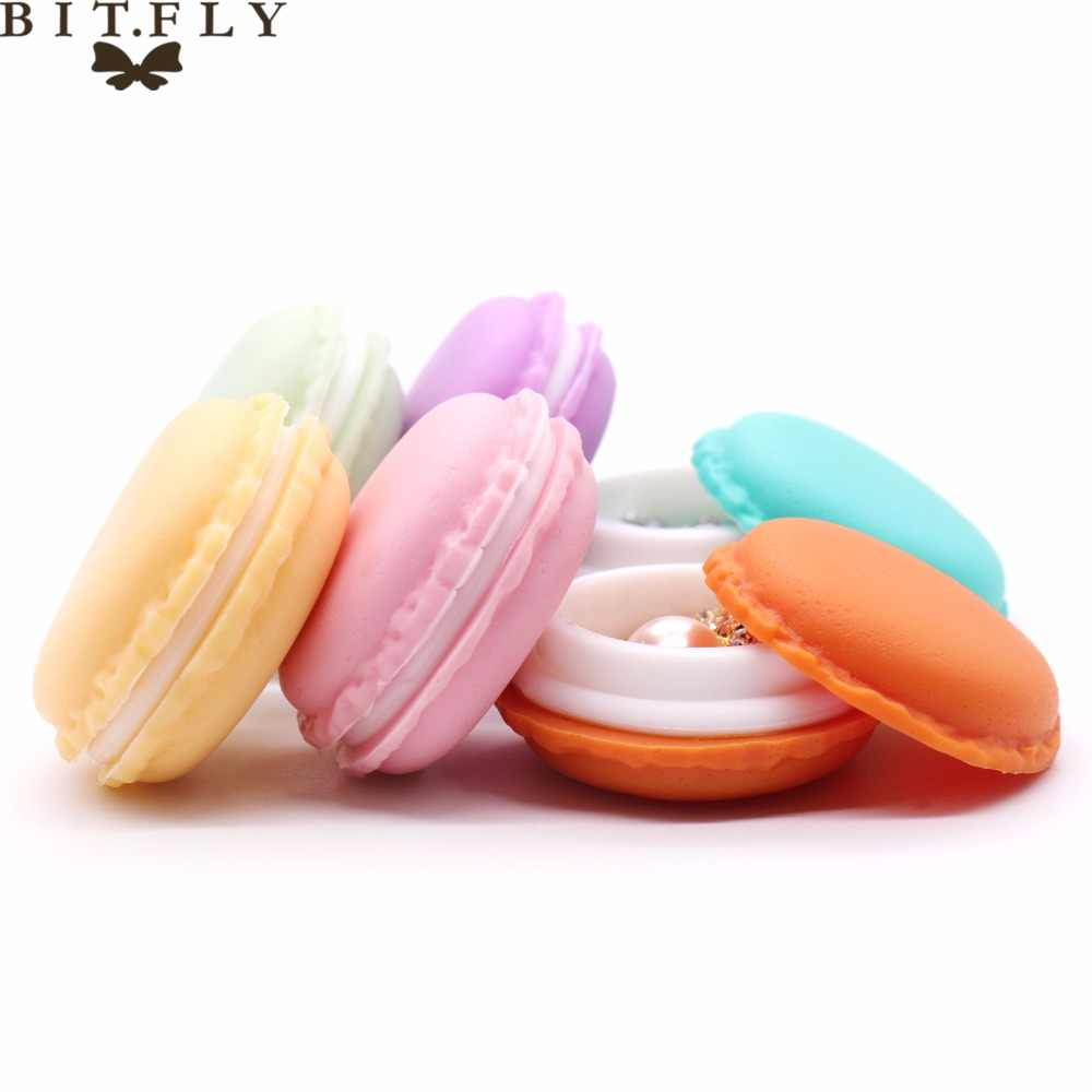 Portable candy color Mini Macarons Storage Box lovely jewelry gift package Pill Carrying Case headset protection box