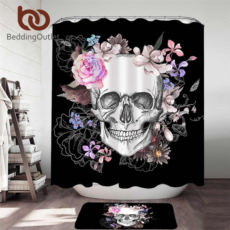beddingoutlet sugar skull shower curtain set floral bathroom curtain 2pcs flowers bath mat rug set gothic black rideau de douche