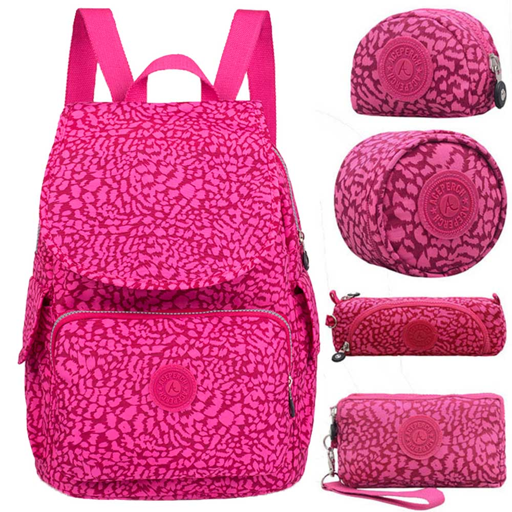 ACEPERCH Women Original Backpack 5Pcs/Set Girl School Bag Nylon Waterproof Backpack Mujer mochilas escolares para adolescentesACEPERCH Women Original Backpack 5Pcs/Set Girl School Bag Nylon Waterproof Backpack Mujer mochilas escolares para adolescentes