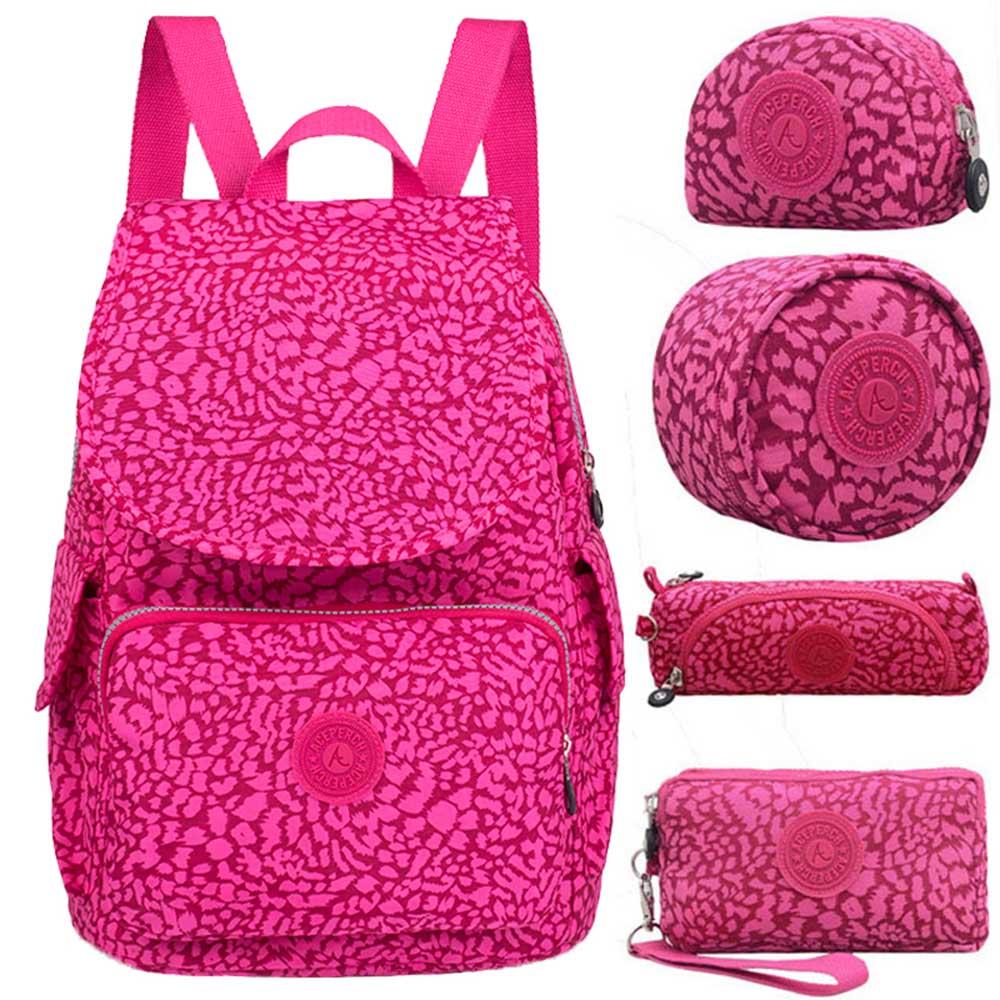 Mulheres Mochila Originais 5 ACEPERCH pçs/set Menina Da Escola Saco de Nylon Mochila mochilas escolares para adolescentes Mujer À Prova D' Água