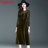 Solid Velvet Temparement Dress 2017 Autumn Winter Fashion Wine Army Green Full Sleeve Pleated Mesh Patchwork