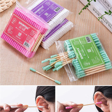 100 Pcs Double Head Cotton Swab Unique Design Women Makeup Buds Tip Remover Nose Ears Cleaning Health Care Medical Wood Sticks
