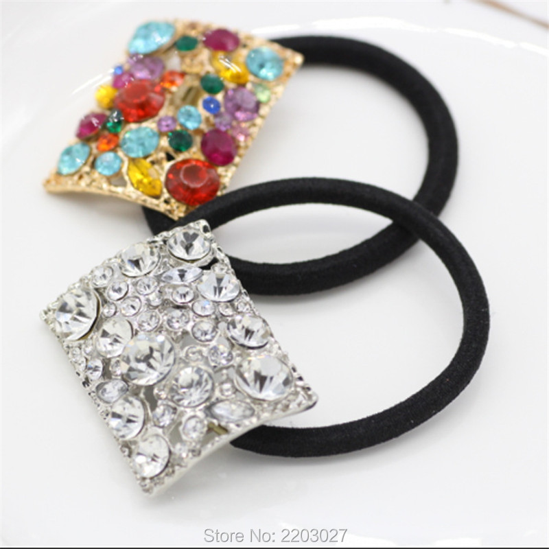 New Fashion Square Crystal Ponytail Holder Rhinestone Elastic Hair Rope Hair font b accessories b font