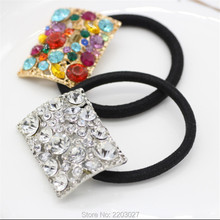 New Fashion Square Crystal Ponytail Holder Rhinestone Elastic Hair Rope Hair accessories