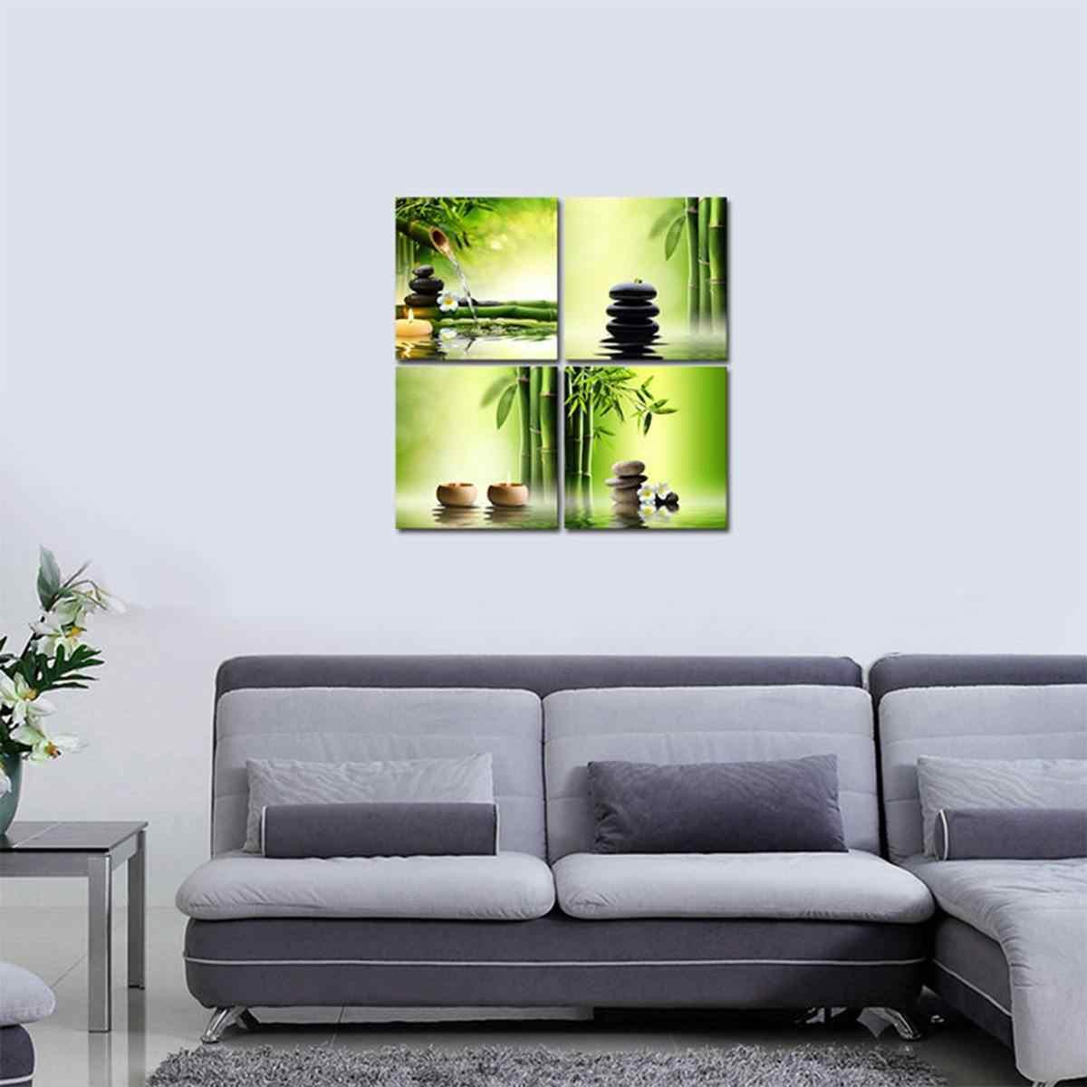 4 قطعة 30 سنتيمتر X 30 سنتيمتر الأخضر الخيزران زن الحجر قماش تزيين المنزل الجدار ملصق فني اللوحة الحمام الصورة معيشة ديكور لا الإطار