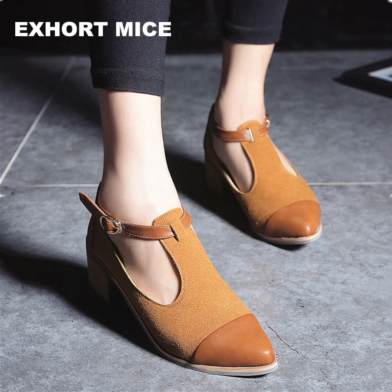 Vintage Oxford Shoes Women Pointed Toe Cut Out Med Heel Patchwork Buckle Ladies Shoes Flats