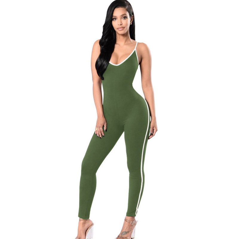 Women 2017 plus size Sexy Backless Bodysuit Spaghetti Strap Bodycon Slim Overalls Stripe Elastic Fitness Rompers Womens Jumpsuit