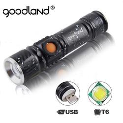 Goodland USB светодиодный фонарик перезаряжаемый светодиодный фонарь Lanterna T6 высокомощный аккумулятор тактический фонарик для велосипеда