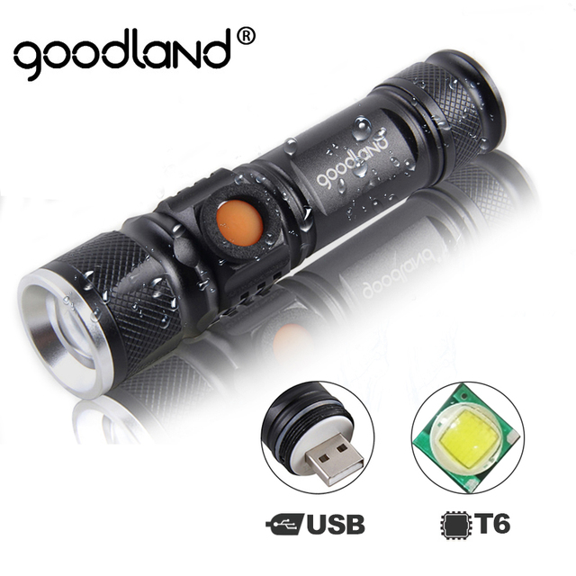Goodland USB LED Flashlight Hand Rechargeable LED Torch Light Hunting Mini Lanterna Q5 T6 High Power Battery Tactical Flashlight
