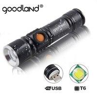 Goodland-Linterna LED recargable con conector USB, luz portátil de alta potencia, táctica, para bicicleta, T6