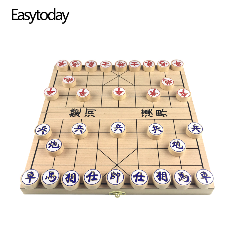 Easytoday Solid Wood Chinese Chess Folding Chessboard Circular Pieces Entertainment Game Standard Configuration