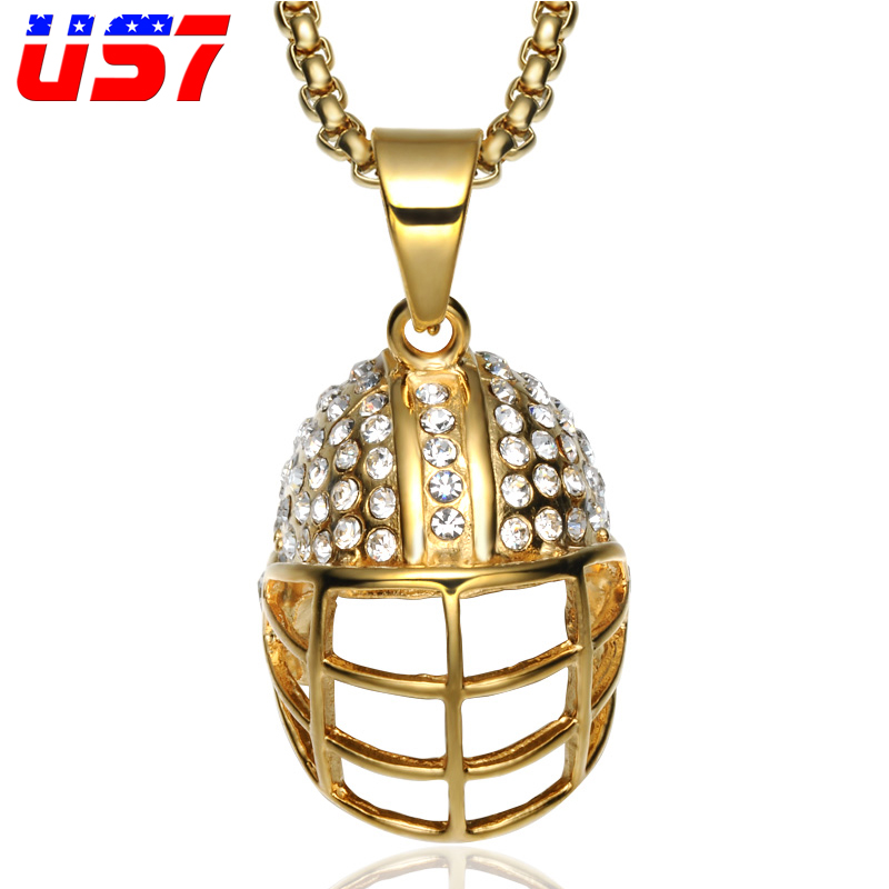 US7 Hip Hop Iced Out Bling Stainless Steel Spartan Warrior Pendant Helmet Necklaces Gold Set Micro Necklace For Men Jewelry Gift