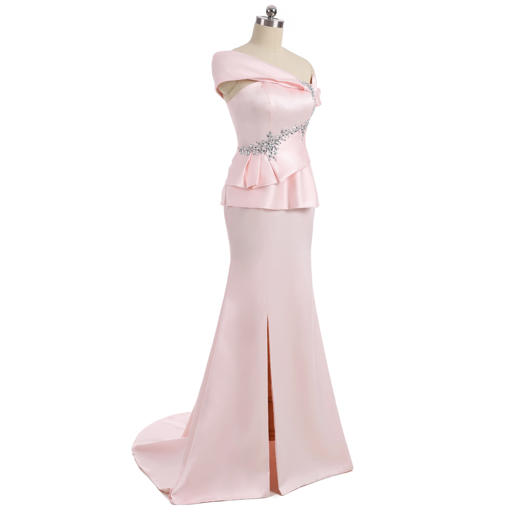 Pink 2018 Mother Of The Bride Dresses Mermaid Cap Sleeves Satin Beaded Slit Wedding Party Dress Mother Dresses For Wedding 3