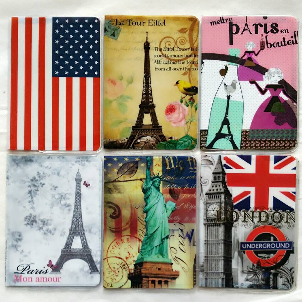 2018 New Fashion London Passport Cover ID Credit Card Bag 3D Design PVC Leather Passport Holder 14*9.6CM