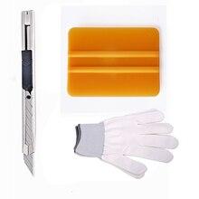 EHDIS 3Pcs Auto Vinyl Car Wrap Tools Window Tint Film Installation Tool Kit Plastic Squeegee Utility Art Knife White Work Gloves