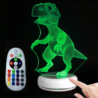 Dinosaur Style 3D Visual Night Light USB Power Supply 7 Colors Table LED Nightlight Touch Sensor