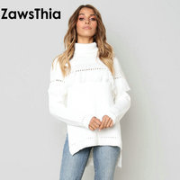 ZawsThia winter white side slit woman long sleeves turtleneck casual knitted sweaters fashion women knitted tops with tassels