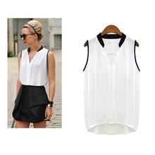 Chiffon Blouses Summer Women Plus Size Casual Loose Sleeveless Vest Pactwork White Pink V-Neck Tops Office Lady Blouse Shirts