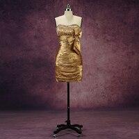 Роза Moda Золотой платье для коктейля 2018 Кристалл Короткие Платья для вечеринок реальные фотографии
