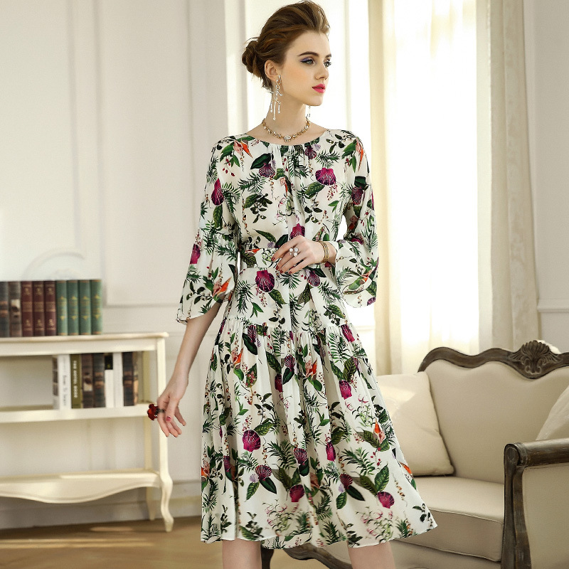 High quality 2018 NEW spring summer fan-shaped sleeves a word loose defined printed o neck waist women vestidos