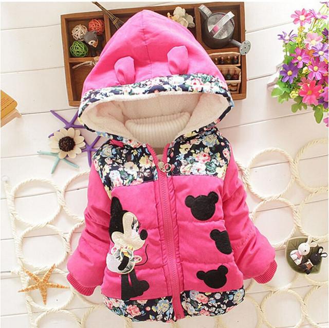 Baby Girls Hooded Jackets Girls Fashion Minnie Mickey Cartoon Children Clothing Coat Baby Kids Winter Warm Outerwear Jackets