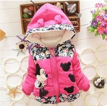 Baby Girls Hooded font b Jackets b font Girls Fashion Minnie Mickey Cartoon Children Clothing Coat
