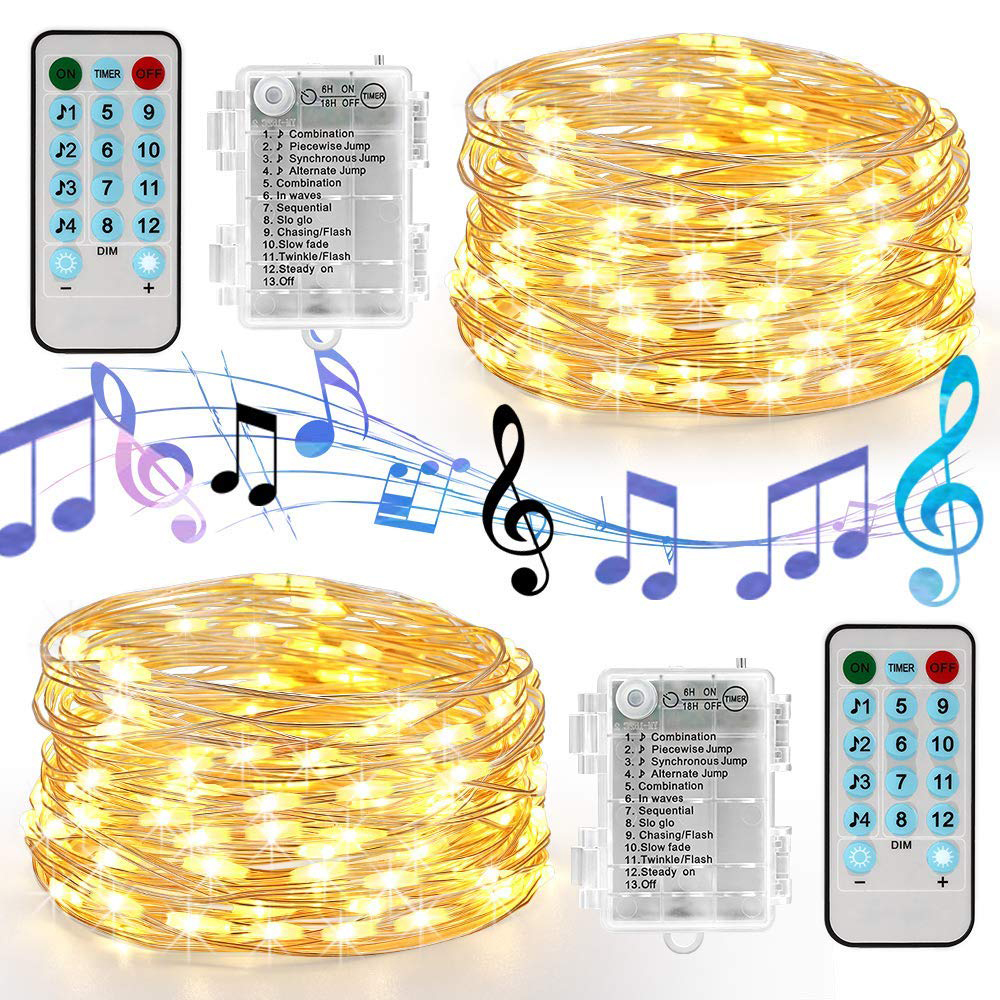 5M 10M Sound Activated LED Music String Lights Battery/USB Operated Copper Wire Christmas Holiday Ligths For Home Wedding Party