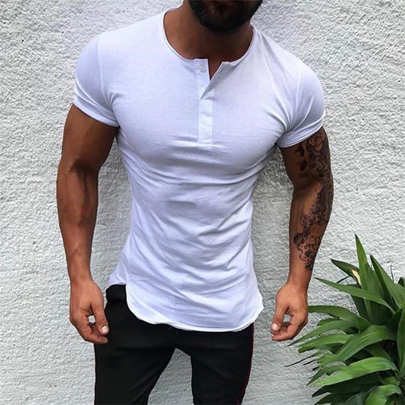 Men Bottoming Shirt Sport Short Sleeve T-shirt V-neck O Neck Summer Solid Color