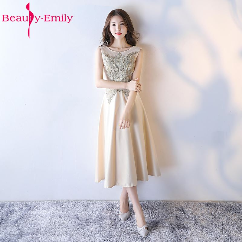 Beauty-Emily Lace Short Beads Wedding Party   Prom     Dresses   2018 Girl and Women A-Line Stain Formal Occasion Ceremony   Dresses