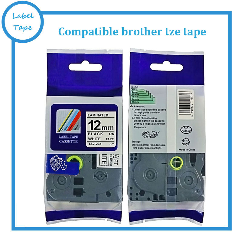 Black PRINT on White Label Tape P Touch Compatible for Ptouch TZ 231 TZe 231 12mm