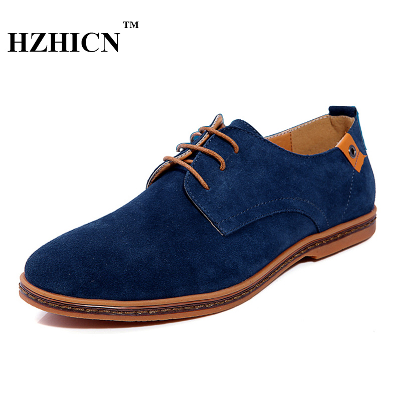 Plus Size Leather Shoes for Men Casual Oxfords New Arrival High Quality Fashion Cow Suede Leather Flats Luxury Brand Moccasins zero more fashion men shoes high quality cow suede leather men casual shoes lace up breathable shoes for men plus size 38 49