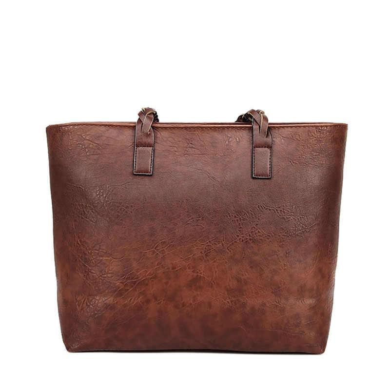 Vintage sac à main femmes marron en cuir sac à bandoulière dames rétro fourre-tout grand sacs à main en polyuréthane bolso 2019 mode grands sacs noirs XA540D