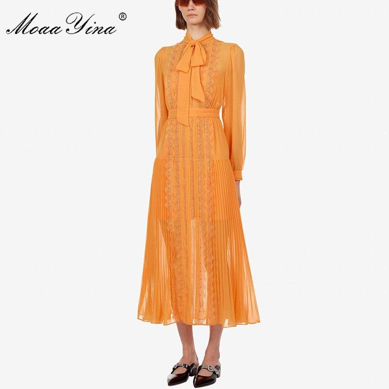 Image 2 - MoaaYina Fashion Designer Runway dress Spring Autumn Yellow Women  Dress Long sleeve Lace Slim Elegant DressesDresses