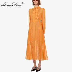 Image 2 - MoaaYina mode Designer robe de piste printemps automne jaune femmes robe à manches longues dentelle mince robes élégantes