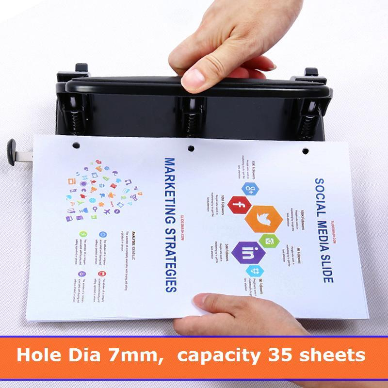 1 Pc Heavy Duty Punch Metal 3-Holes Standard 7mm Hole 35 Sheets Capacity 163x260mm Office Supplies Deli 0116 2 hole heavy duty punch 6mm holes 80mm hole distance 60 sheets capacity less force hole puncher built in paper guide