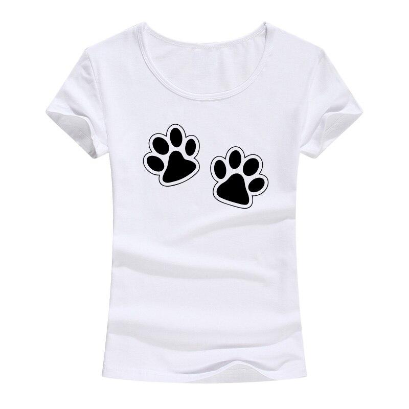 Women Summer Cotton T-shirt Animal Footprint Printed Christmas Short Sleeve T-shirt Kawaii Girl