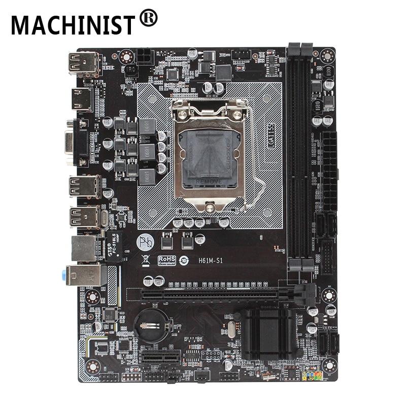 Original For H61 H61M S1 LGA 1155 desktop motherboard socket 1155 DDR3 Mico ATX Intel Core