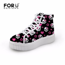 Fashion Women High Upper Platform Creepers Shoes Woman Lace-up Skull Casual Wedge Shoes Women Flat Walking Shoes Chaussure Femme