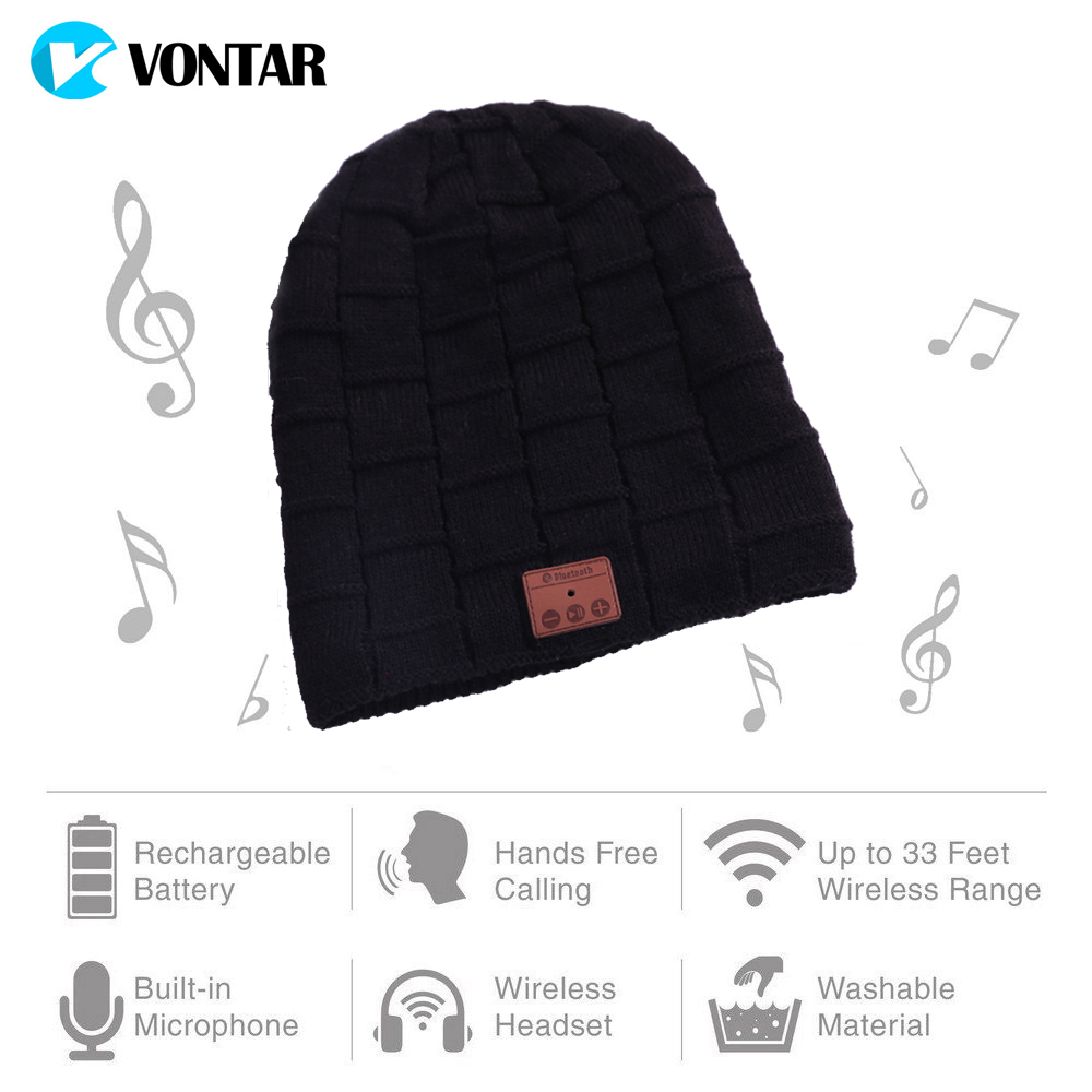 VONTAR MK3  Wireless Bluetooth headphones Music hat Smart Caps Headset earphone Warm Beanies Winter Downy Hat  Mic for sports