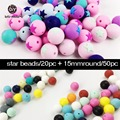Baby Teether Silicone Round Star Beads Bulk 70PCs Food Grade Craft Supplies & Tools Baby Accessories Toys Necklace Pendant