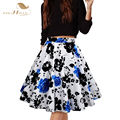 2017 High Waist Summer Skirt Women Midi Skirt Plus Size faldas mujer Floral Print Vintage Skirts jupe taille haute Purple Red