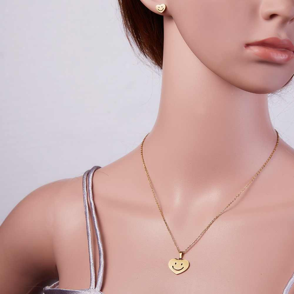 RINHOO ดอกไม้ทองสีสแตนเลสชุดผู้หญิง Emoji ผีเสื้อปลากระดูกสร้อยคอต่างหูเครื่องประดับชุดเครื่องประดับงานแต่งงาน