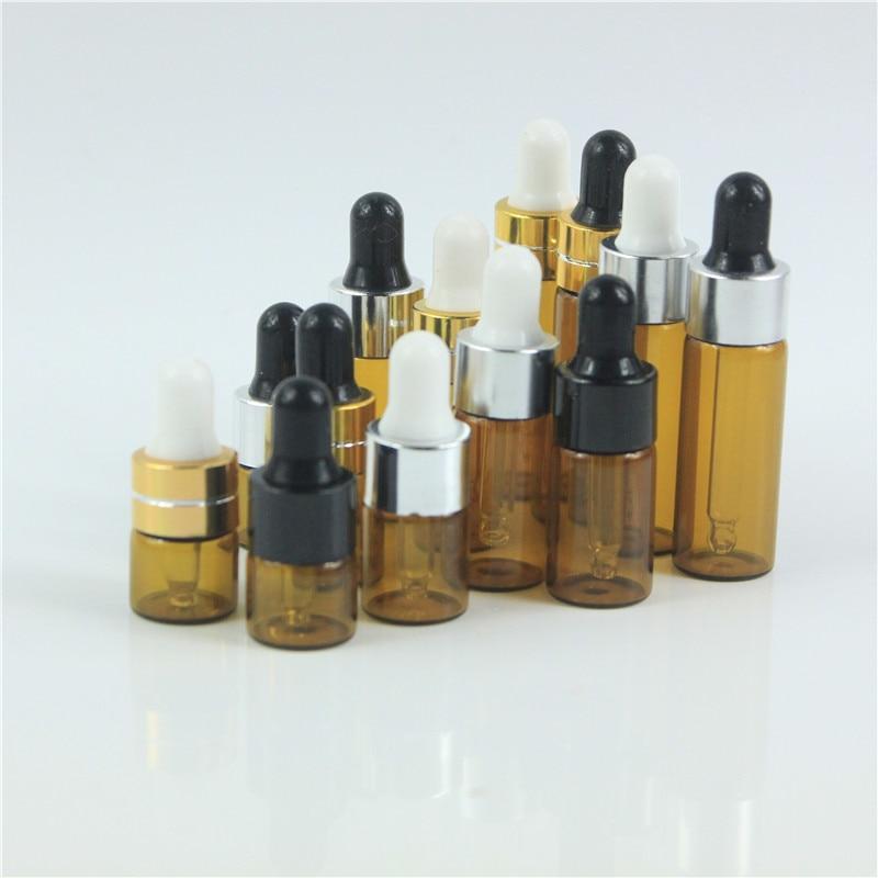 10pcs/lot 1ml 2ml 3ml 5ml Portable Amber Aromatherapy Esstenial Oil Bottle With Glass Eye Dropper Mini Empty Dropper Bottle