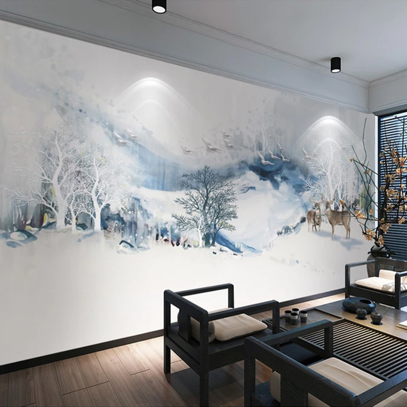 Custom 3D Mural Wallpaper Chinese Style Abstract Ink Mountain Water Bird Elk Study Room Bedroom Background Wall Decor Painting