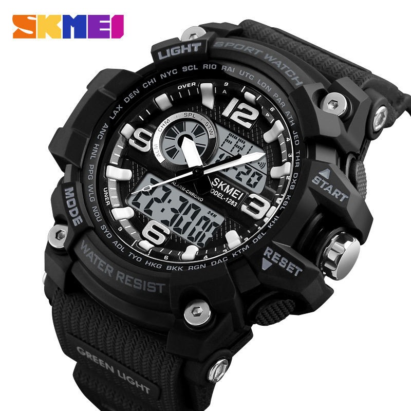 SKMEI New Dual Display Watch Men Sports Watches Fashion Waterproof Countdown Alarm Digital Wristwatches Relogio Masculino Xfcs 2017 new men digital sports military watch electronic dual time zone waterproof army watch relogio masculino relogio militar
