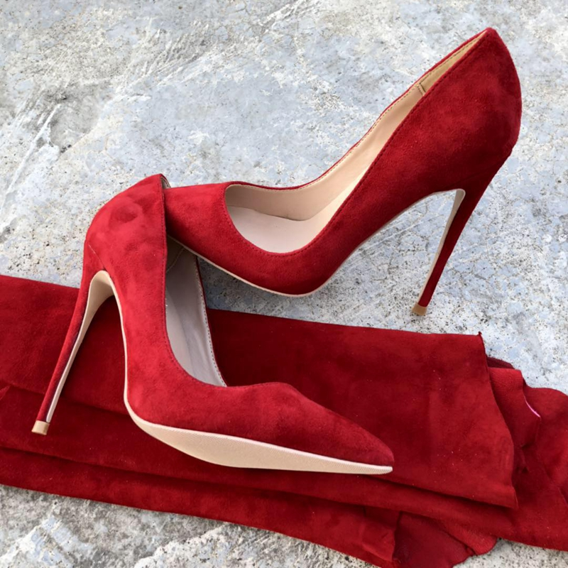 2018 New style ladies pumps 35 43 slip on Pointed toe fashion heel women s shoes