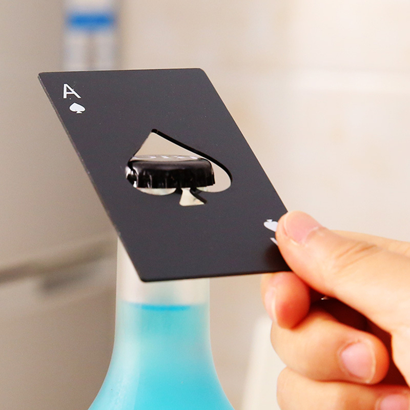 1Pc Beer Opener Stainless Steel Poker Card Bottle Personalized Credit Black Sliver Home Bar Tool